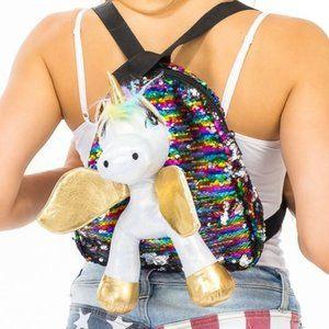 Plush Unicorn Sequin Backpack Multi